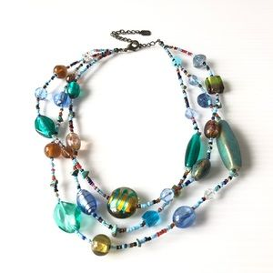 Jewelry - Summer Rainbow Glass Necklace 3-strand Vintage
